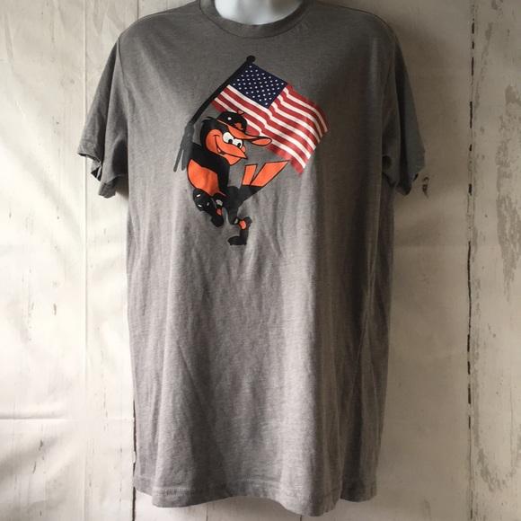 Baltimore Orioles Bird Gray Tee w/ American Flag